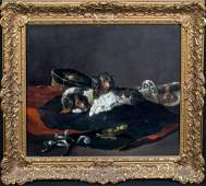 King Charles Puppies & Military Uniform Oil Painting