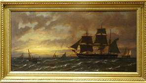 Ships At Sunset Oil Painting