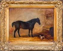 Hunter Horse & Terrier Dog Oil Painting