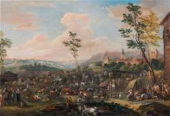Cattle Market Livestock Landscape Oil Painting