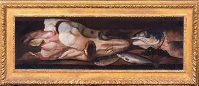 Still Life Of Fish Squid & Lobster Oil Painting