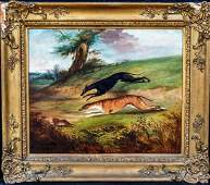 Greyhound Dogs Coursing Landscape Oil Painting