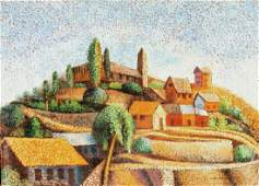 Pointillist Village Oil Painting