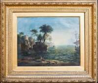 Ship Sunset harbour Landscape Oil Painting