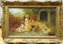 St Bernard Dog Mother & Puppies Oil Painting