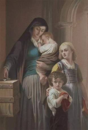 WIDOW'S MITE CONTRIBUTION SACRED WOMEN OF BIBLE - 1873