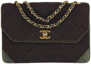 Chanel Quilted Brown Canvas X Leather Classic Chain