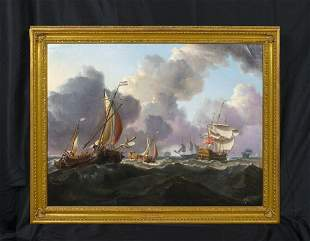 Warships Dutch Hoys Oil Painting