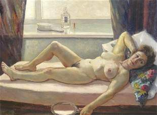 Portrait Naked Lady Reclining St Ives Oil Painting
