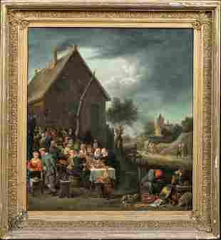 Village Tavern Banquet Oil Painting