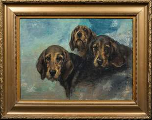 Portrait Of Three Hounds Dogs Oil Painting