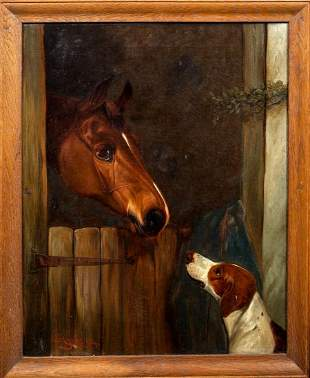 Stable Friends Horse & Hound Dog Oil Painting
