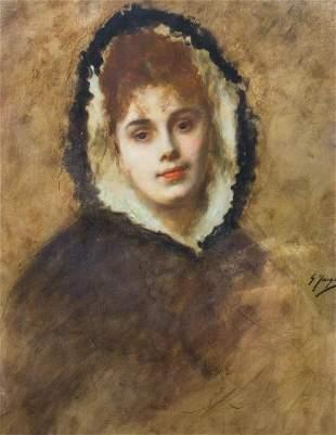 Portrait Fur Hood Oil Painting