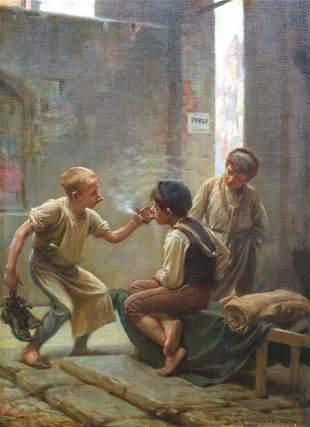 Prague Street Children Smoking Oil Painting