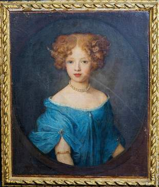 Portrait Of A Girl Blue Dress Oil Painting