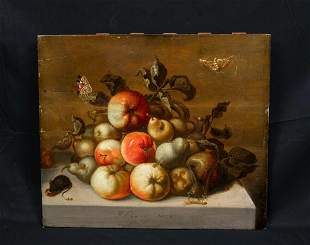 Still Life Fruit Insects, Mouse, & Butterflies Oil