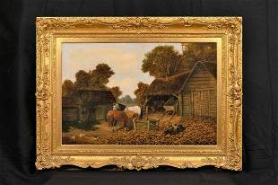 Farm Horses, Pigs, &  Chickens Oil Painting