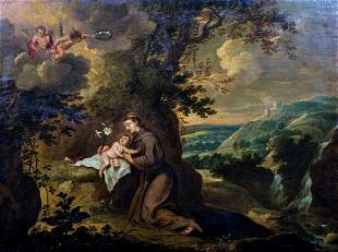 Vision Of Saint Anthony & Christ Oil Painting