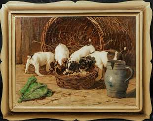 Puppies Feeding Dog Portrait Oil Painting