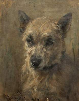 "Portrait Of A Grey Terrier Dog ""Foxy"" Oil Painting"