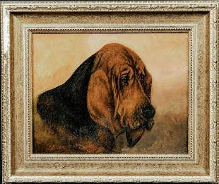 Portrait Of A Bloodhound Dog Oil Painting
