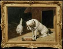 Bulldog & White Angora Cat Portrait Oil Painting