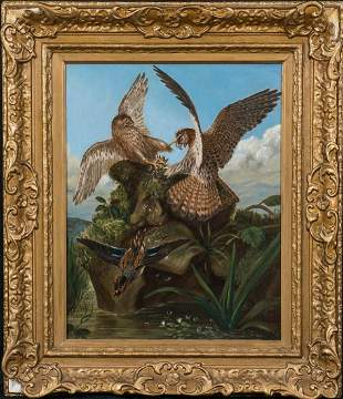 airs Of Hawks Fighting Bird Oil Painting