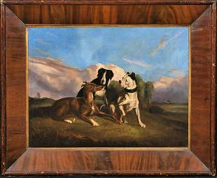 English Dog Oil Painting