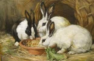 Rabbits Feeding Oil Painting