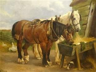 Shire Plough Horses Feeding Oil Painting