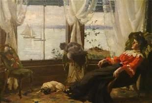 Dog & Ships Sailing Oil Painting
