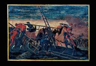 Holy Roman Empire Turkish Ottoman War Battle Scene Oil