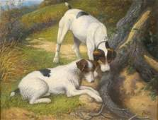Fox Terriers Dog Portrait At A Rabbit Hole Oil Painting