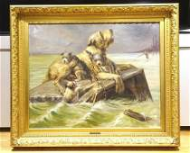 Wolfhound & Puppies Flood Dog Oil Painting