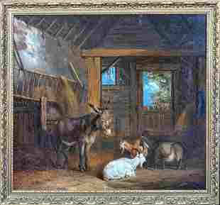 Donkey & Goats Barn Interior Oil Painting