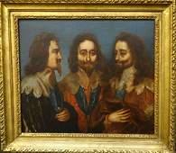 King Charles I Triple Portrait Oil Painting