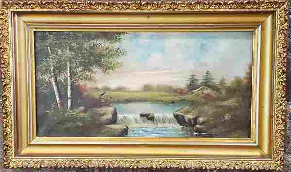 Untitled Painting of A Lake With Waterfall Oil Painting