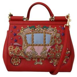 Red Leather Carriage Purse Borse Satchel SICILY Bag