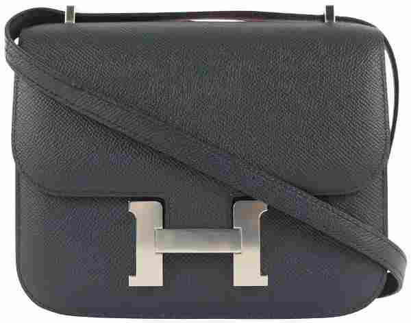 Hermes Bleu Indigo Epsom Leather Mini Constance 18