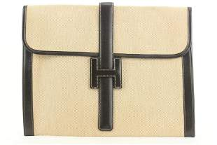 Hermès Beige Toile X Brown Leather Jige 34 Clutch GM