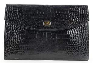 Hermès Black Porosus Crocodile Rio Clutch Pochette