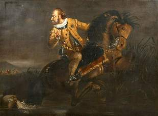 Civil War Royalist Earl or Lord Battle Escape Oil