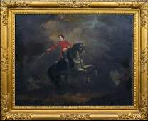Portrait British Cavalry Officer Horse Oil Painting