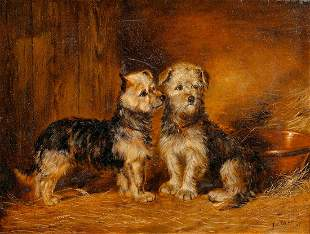 Portrait Of Terrier Dog Puppies Oil Painting
