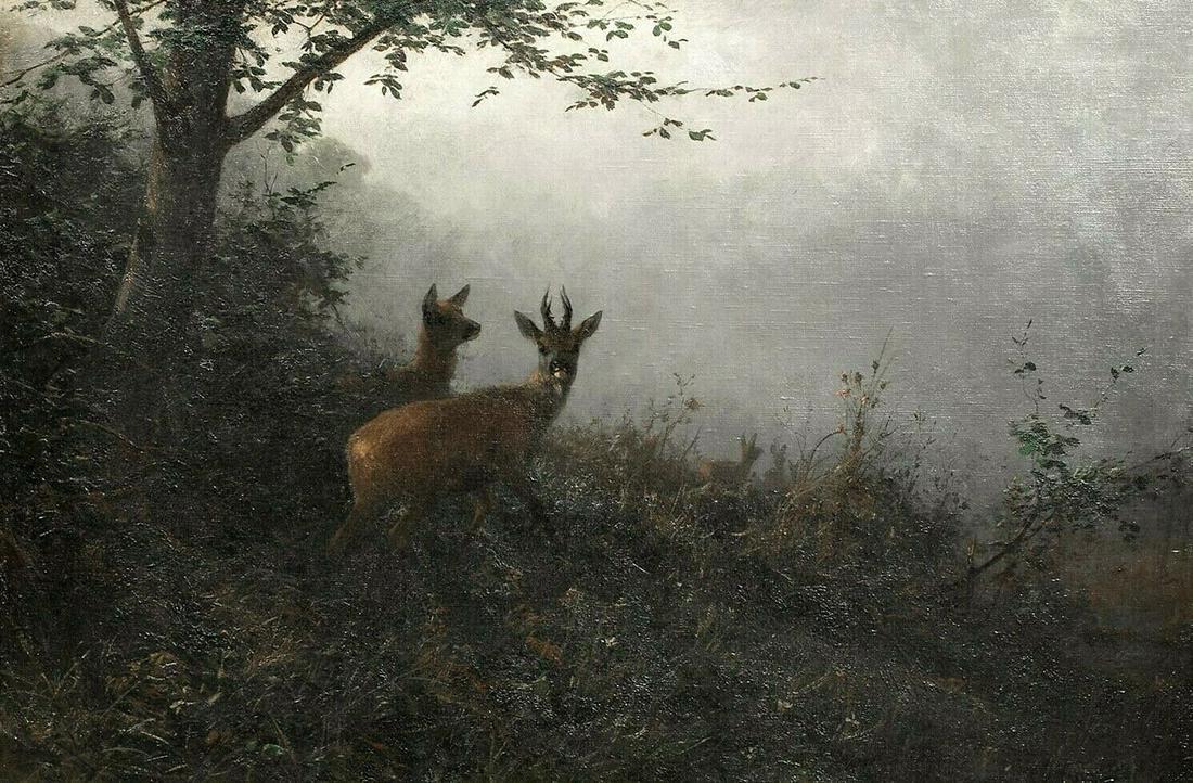 Teutoburg Forest Deer Landscape Oil Painting