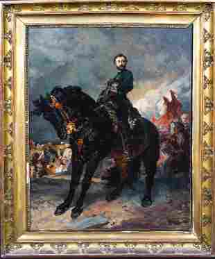 Cavalry Officer & Black Horse Oil Painting