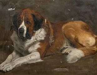 "Portrait Of ""Tanocia"" St Bernard Oil Painting"