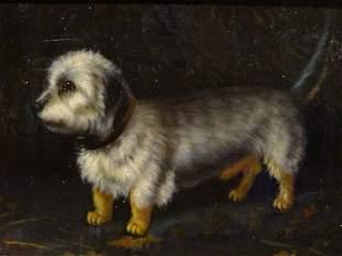 Dandie Dinmont Terrier Dog Oil Painting