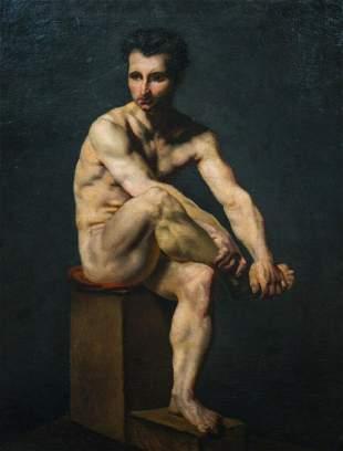 Nude Male Portrait Oil Painting