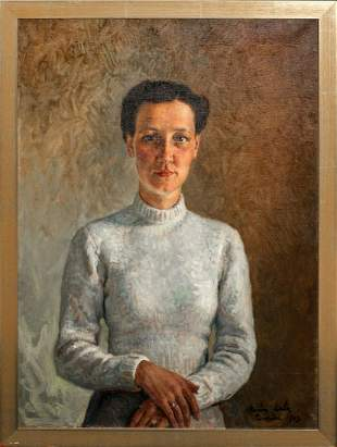 Portrait Of A Lady In White Dress Oil Painting